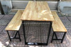 Bàn ghế chân sắt gỗ Cao Su